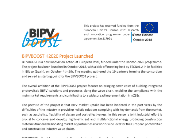 Press release: BIPVBOOST project  launched